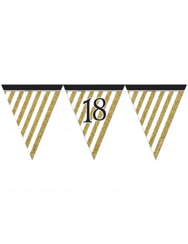 Wimpel-Girlande - schwarz gold - Zahl 18