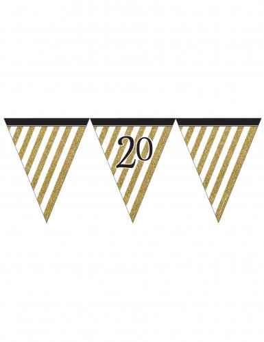 Wimpel-Girlande - schwarz gold - Zahl 20