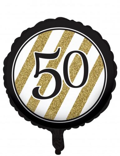 Aluminium-Ballon zum 50. Geburtstag schwarz 46 cm