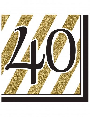16 schwarz-goldene Papier Servietten40 Jahre