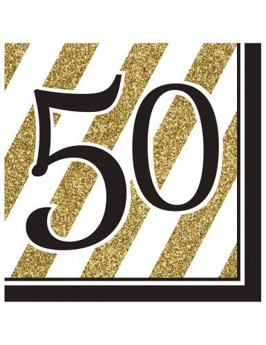 16 schwarz-goldene Papier Servietten50 Jahre