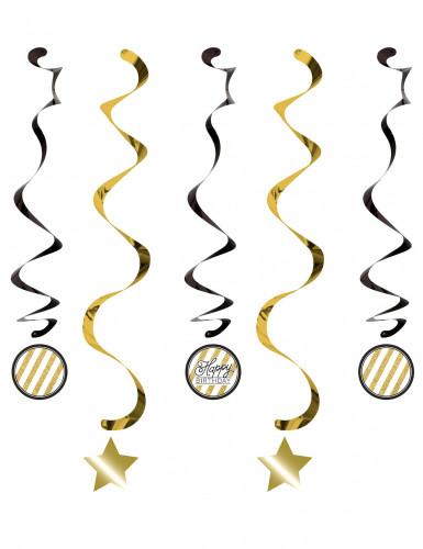 5 Hängespiralen Happy Birthday - gold-schwarz