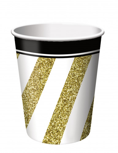 8 Pappbecher - gold-schwarz