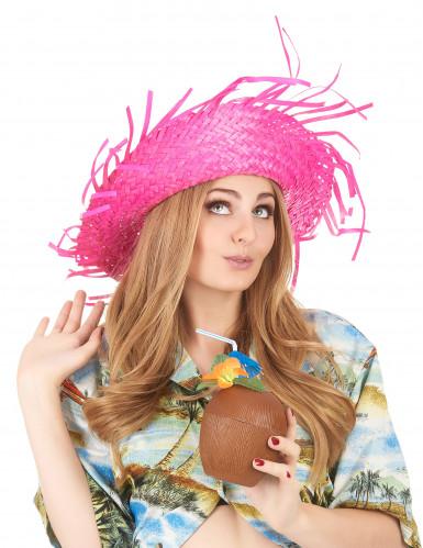 Rosafarbener Hawaii Hut für Erwachsene-2