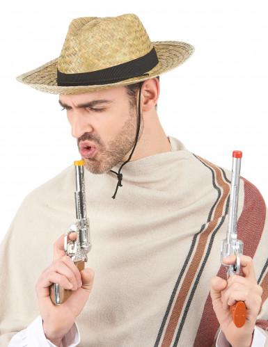 Cowboy-Hut aus Stroh für Erwachsene beige-schwarz-1