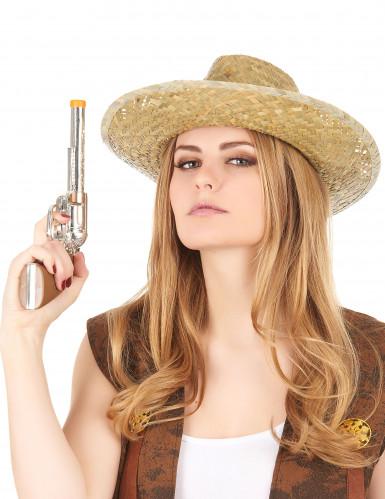 Cowboy-Hut aus Stroh für Erwachsene beige-schwarz-2