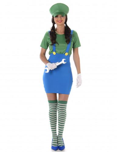 Klempner Kostüm für Damen grün-blau