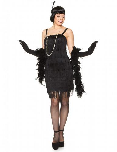 Schwarzes 20er Jahre Charleston Kostüm für Damen