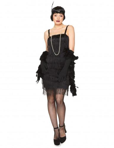 Schwarzes 20er Jahre Charleston Kostüm für Damen-1