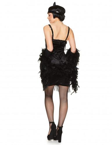 Schwarzes 20er Jahre Charleston Kostüm für Damen-2