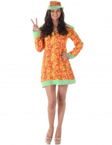 Hippie-Kostüm für Damen mit Schirmmütze bunt