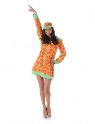 Hippie-Kostüm für Damen mit Schirmmütze bunt-1
