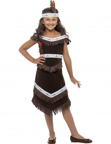 Indianerinnen-Kostüm für Mädchen mit Haarband bunt