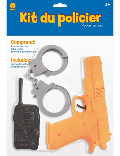 Polizei Set für Kinder 3-teilig schwarz-grau-orangefarben-1