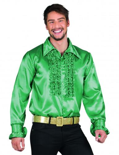 Dunkelgrünes Disco-Hemd für Herren