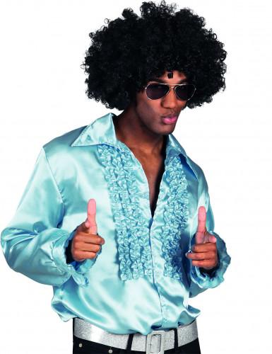 Blaues Satin-Hemd für Männer