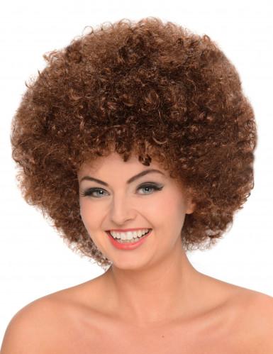 Braune Afro-Perücke für Damen