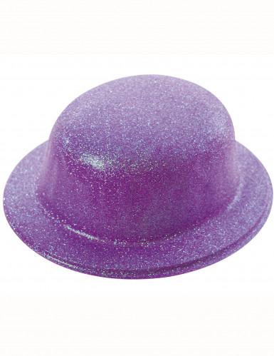Lila Glitzer-Hut Melone für Erwachsene