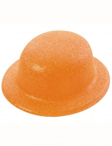 Orange Glitzer-Hut Melone für Erwachsene