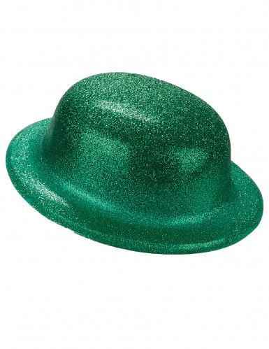 Grüner Glitzer-Hut Melone für Erwachsene - St. Patrick's Day