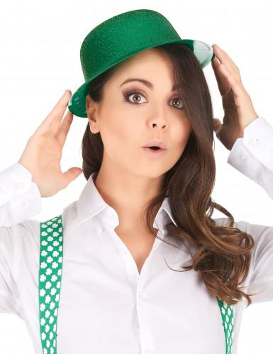 Grüner Glitzer-Hut Melone für Erwachsene - St. Patrick's Day-1