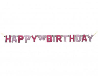 Happy Birthday Glitzer-Girlande - rosa