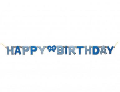 Happy Birthday Glitzer-Girlande - blau