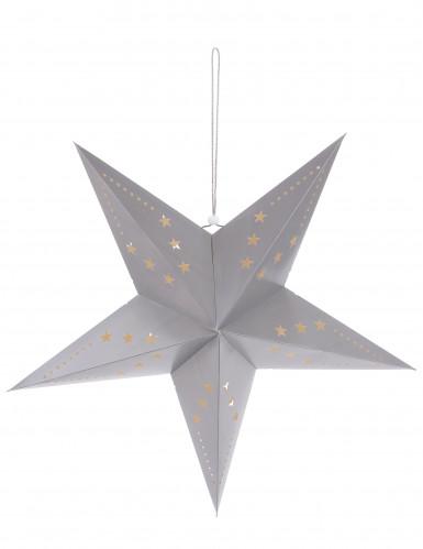 Sternen-Laterne - silbergrau