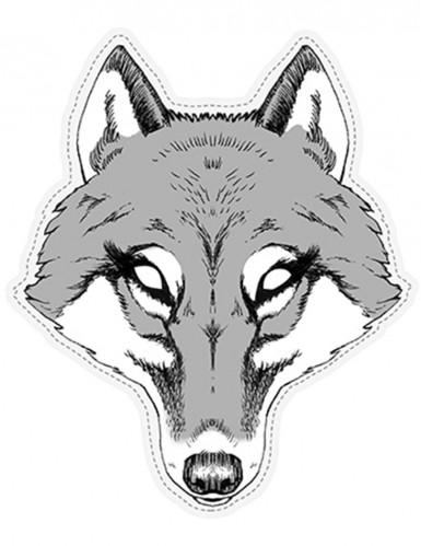 Wölfin Maske aus Pappkarton
