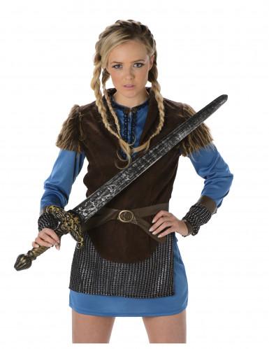 Blaues Wikinger Kostüm für Damen-1