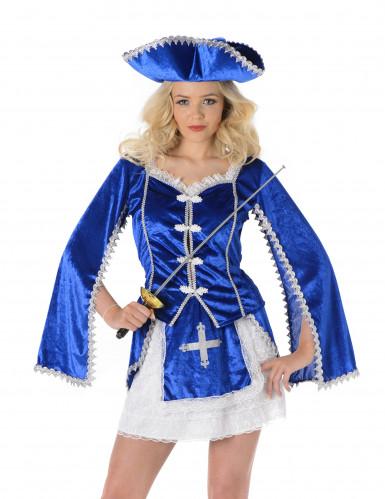 Blaues Musketier Kostüm für Damen-1