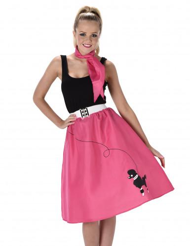 Fuchsiafarbenes 50er Jahre Kostüm für Damen-1