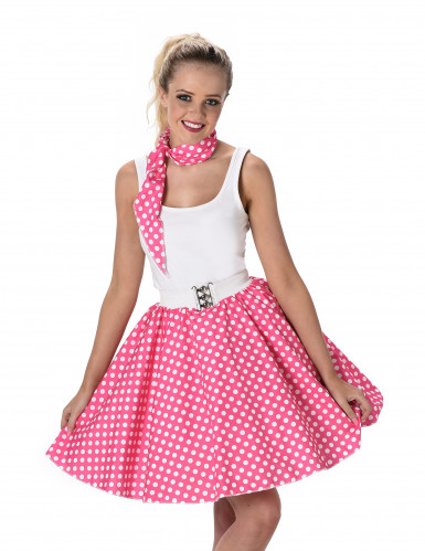 50er Jahre Kostüm für Damen pink-weiß gepunktet Rockabilly-1