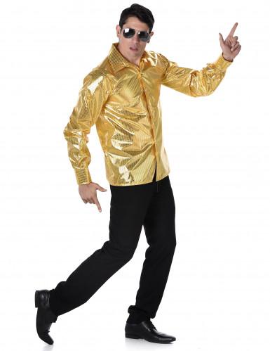 70er-Jahre Disco Hemd für Herren gold
