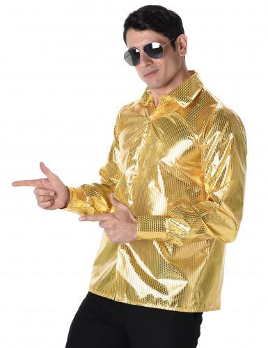 70er-Jahre Disco Hemd für Herren gold-1