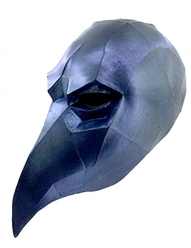 3D Raben Maske Low Poly - Hand bemalt