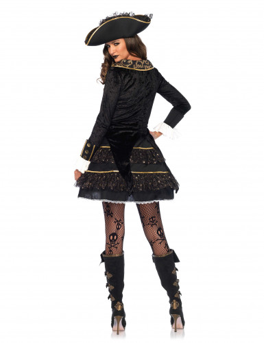 Piraten Kapitänin Kostüm aus Samt Barock gold-schwarz-1