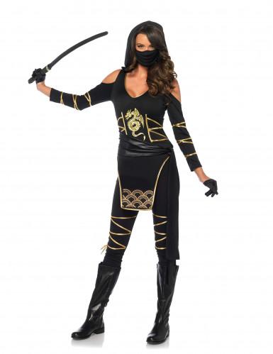Ninja Kostüm für Damen schwarz-gold-1