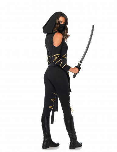 Ninja Kostüm für Damen schwarz-gold-2