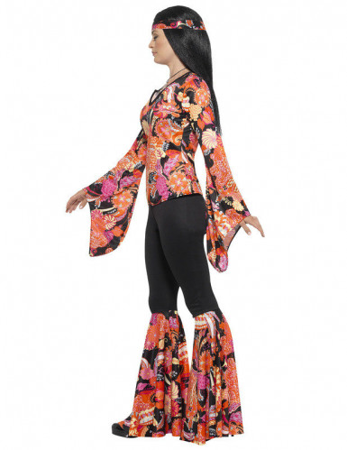 Hippie-Kostüm für Frauen schwarz und mehrfarbig-1