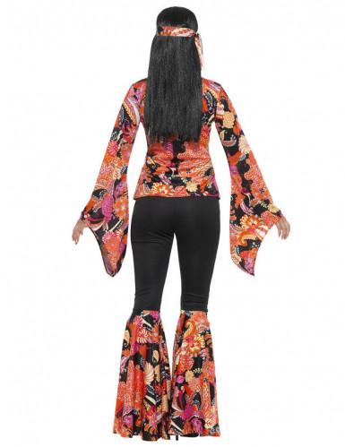 Hippie-Kostüm für Frauen schwarz und mehrfarbig-2