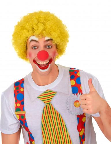 Kurze Afro-Perücke Clown gelb für Erwachsene-1