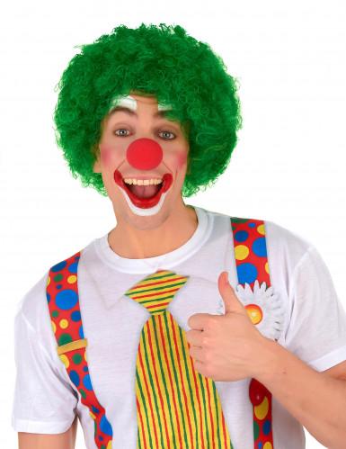 Kurze Afro-Perücke Clown grün für Erwachsene-1