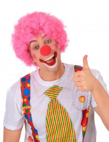 Afro-Perücke Clown rosa für Erwachsene-1