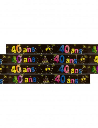 Banner zum 40. Geburtstag mit Feuerwerk-Motiv 3,60 Meter