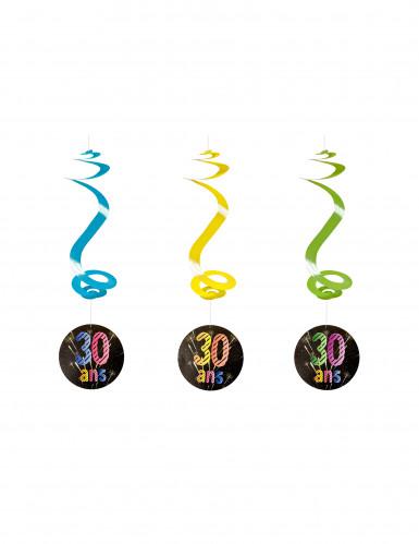 4 spiralförmige Girlanden zum 30. Geburtstag 60 cm