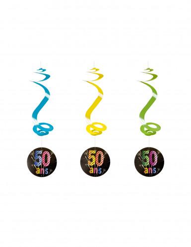 4 spiralförmige Girlanden zum 50. Geburtstag 60 cm