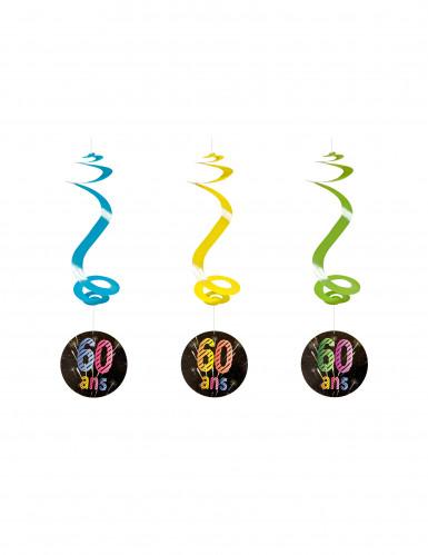 4 spiralförmige Girlanden zum 60. Geburtstag 60 cm