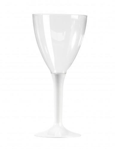 10 weiße Weingläser aus Kunststoff