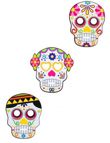 3 Dia de los Muertos Masken für Halloween bunt